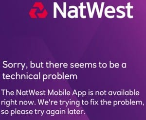 Natwest app problems or down