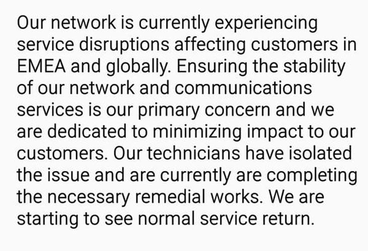 Level 3 Internet outage today, Aug 2019