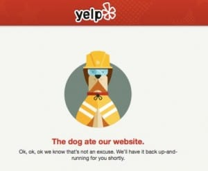 Yelp down, website not working with DNS error