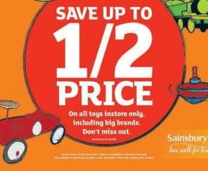 Sainsbury's Half Price Toy Sale