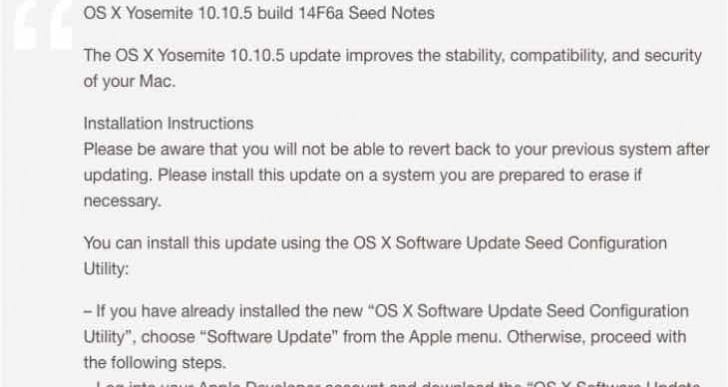 OS X 10.10.5, iOS 8.4.1 release update preparations