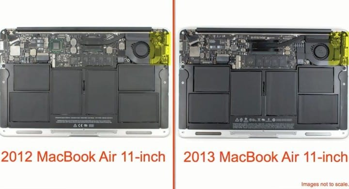 11-inch 2013 MacBook Air specs analyzed from inside