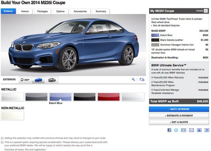 2014 BMW 2 Series configuration options