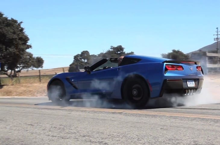 We can almost smell the rubber of this 2014 Chevy Corvette C7 Stingray burnout