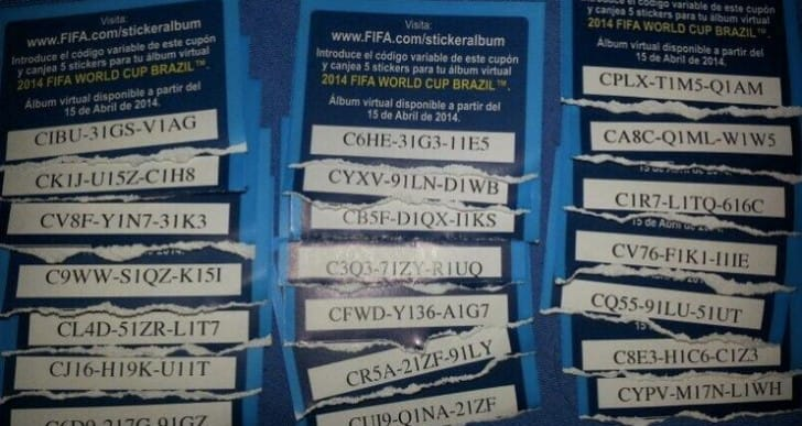 2014 Panini online sticker album codes shared