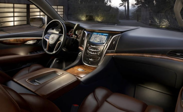 The interior of the 2015 Cadillac Escalade has unique design features