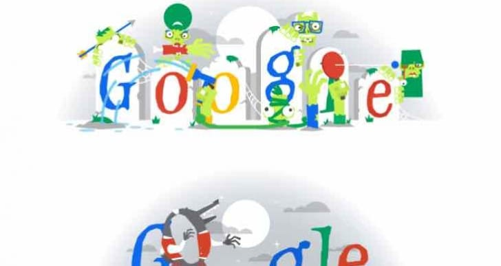2015 Halloween Google Doodle build-up with previous years