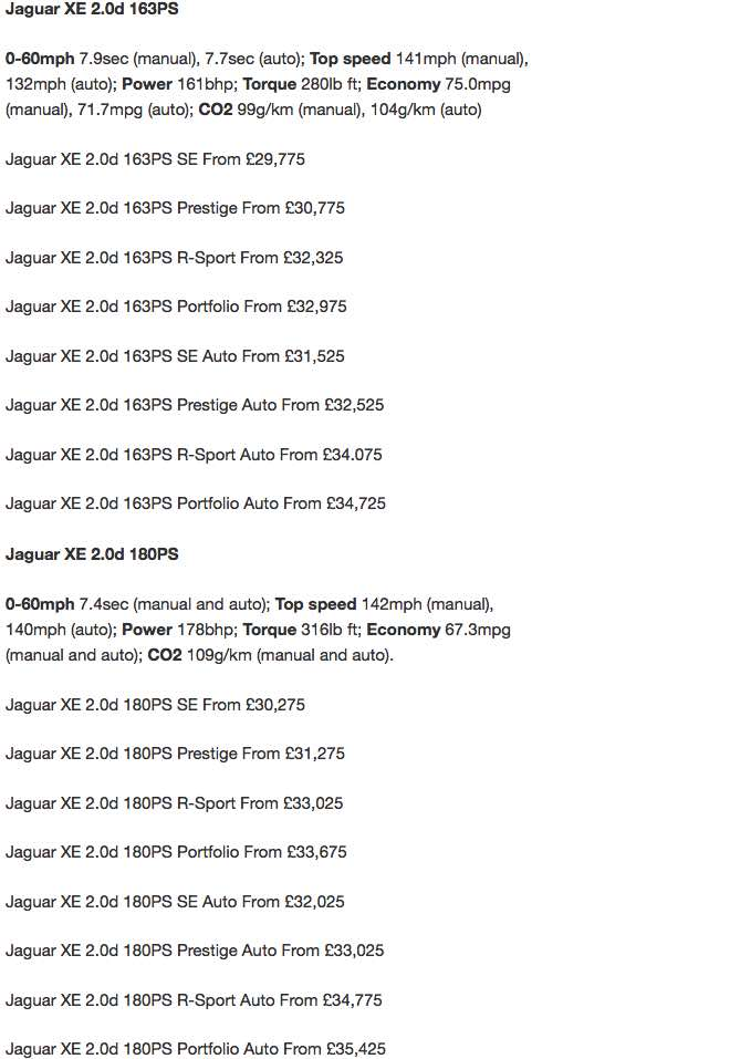 2015 Jaguar XE prices