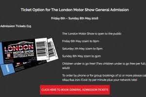 2016 London motor show tickets with various options