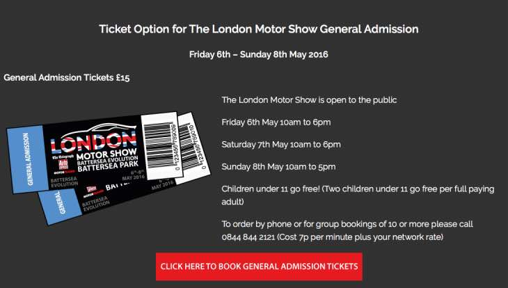2016 London motor show tickets