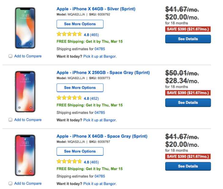 sprint iphone deals iphone x 64gb deals on sprint at best buy product 13035