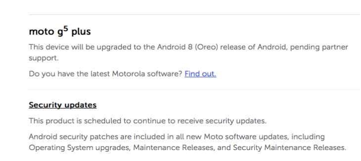 Moto G5 Plus Oreo update frustration after one year