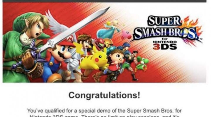 3DS Smash Bros code for early access
