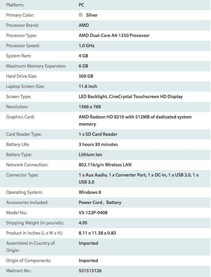 Acer-V5-Angel-touchscreen-laptop-specs-list