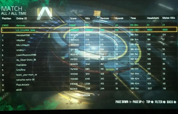 Advanced-Warfare-Zombies-leaderboards-hacked