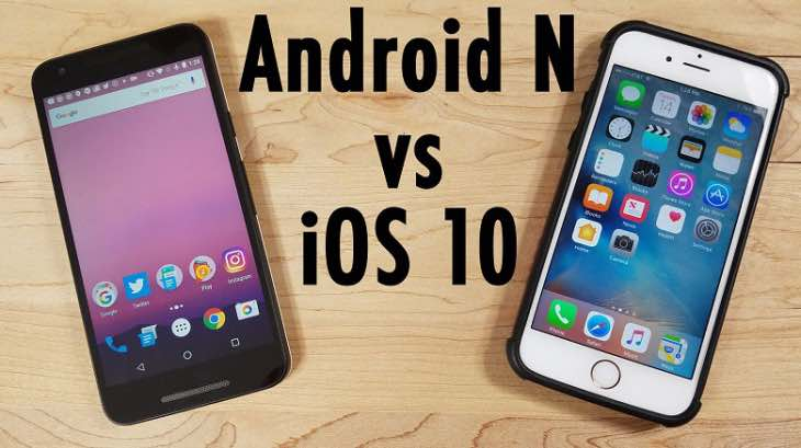 Android 7 Nougat compared to iOS 10