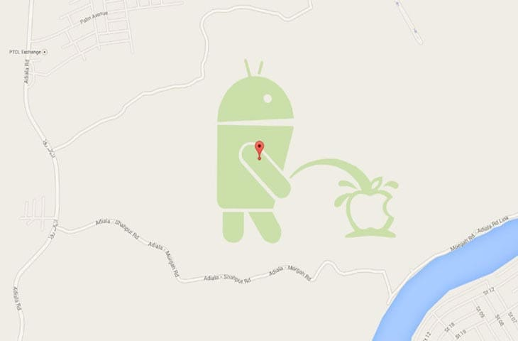 Android-bot-peeing-on-Apple-google-maps