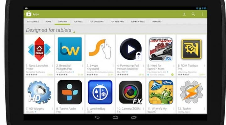 Best Android tablet apps getting Google visibility