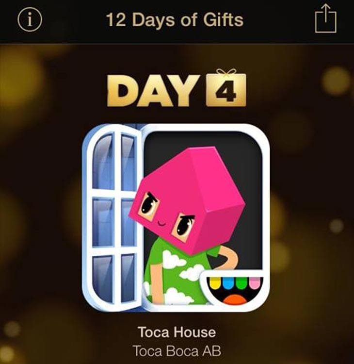 Apple 12 days iTunes app