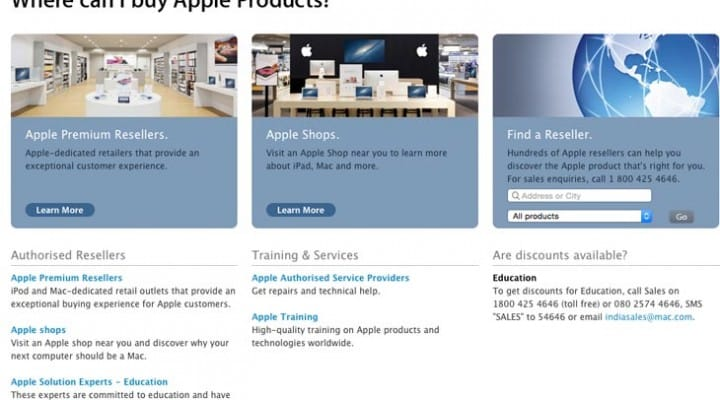 Apple India online store necessity for direct price