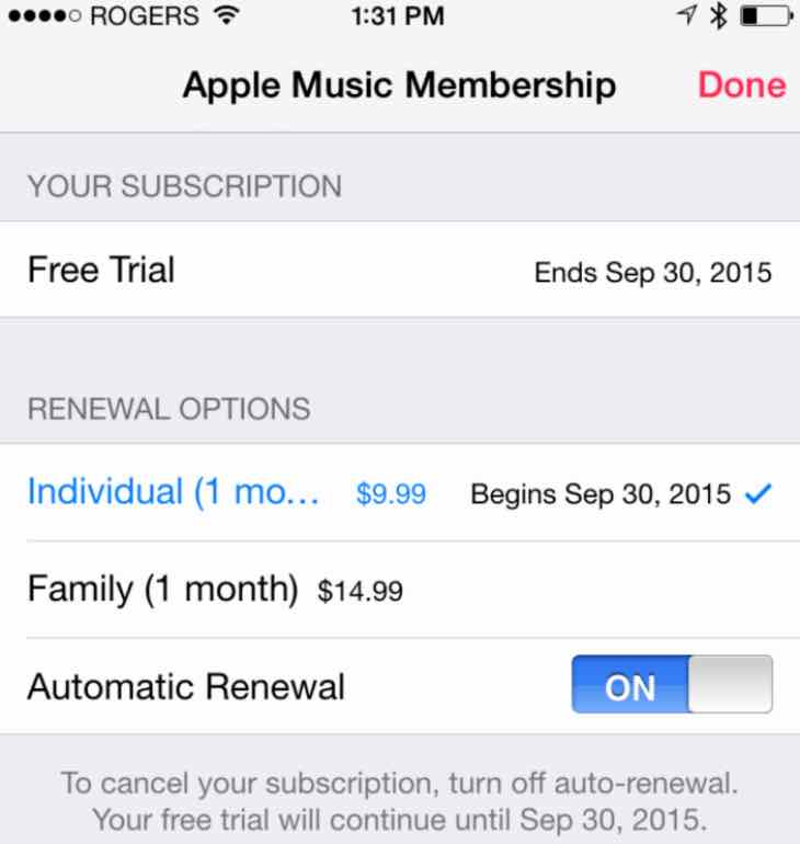 Apple Music auto-renewal