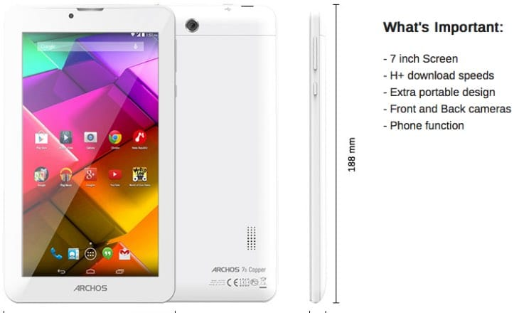 Archos 70 Copper specs