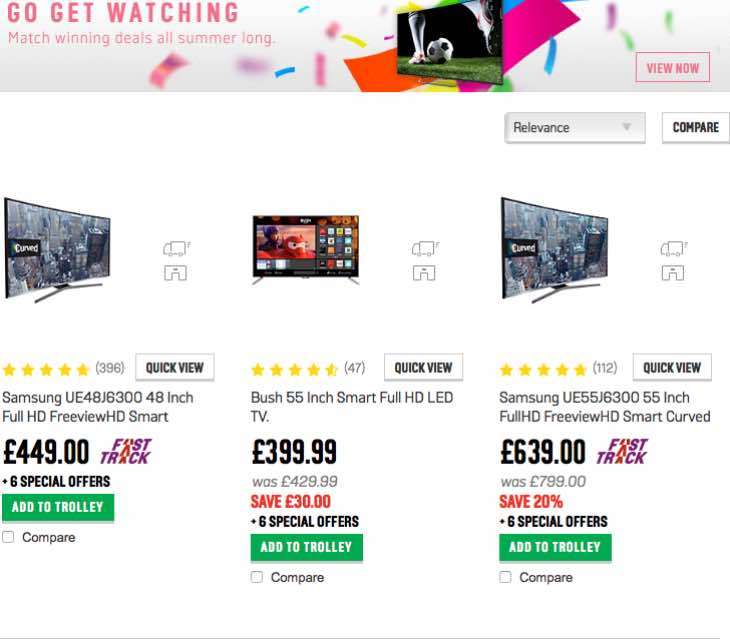 Argos TV deals for June