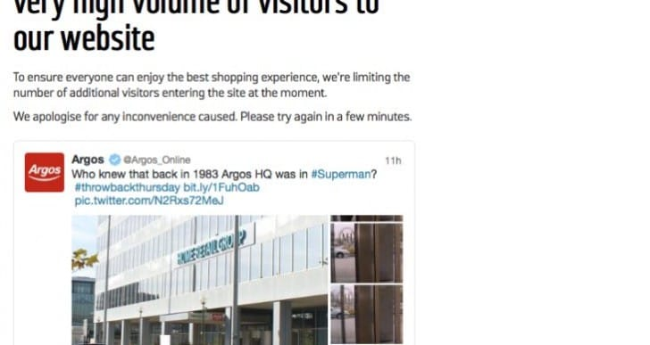 Argos UK website down on Nov 28 with high volume