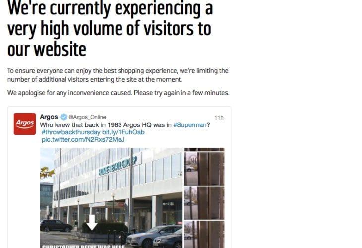 Argos UK website down on Nov 28 with high volume