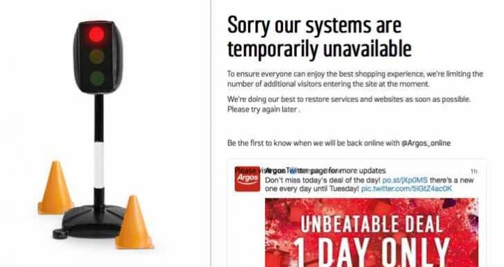 Argos down today with temporarily unavailable message