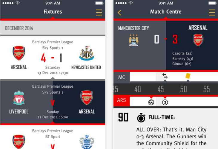 Arsenal app update