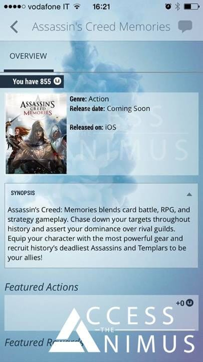 Assassin's Creed Memories iOS app