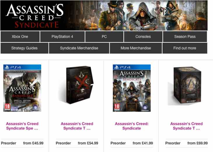 Assassin's Creed Syndicate price at Game UK and Tesco