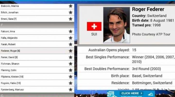 Australian Open 2015 schedule and leaderboard updates within app