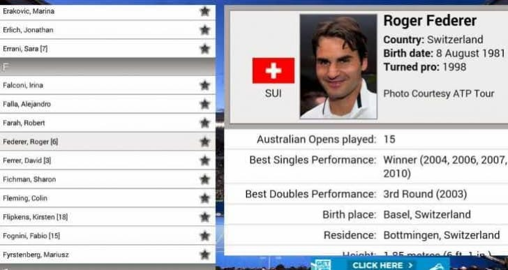 Australian Open 2015 schedule and leaderboard updates within app