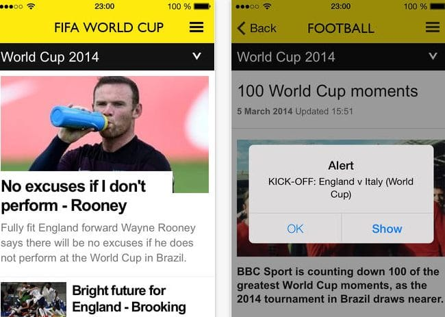 BBC Sport app for World Cup