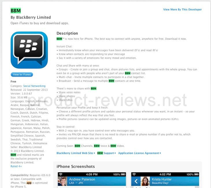 BBM cache page for iTunes when live