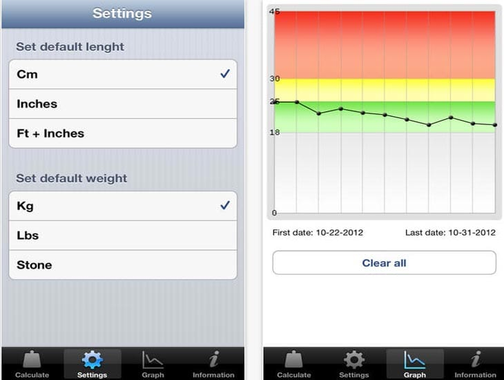 BMI calculator app for kids and adults on Android, iOS