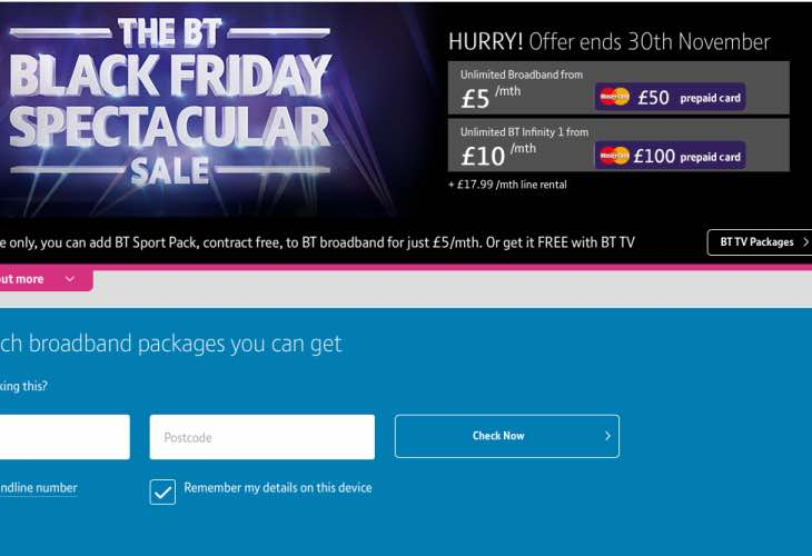 BT Black Friday sale live
