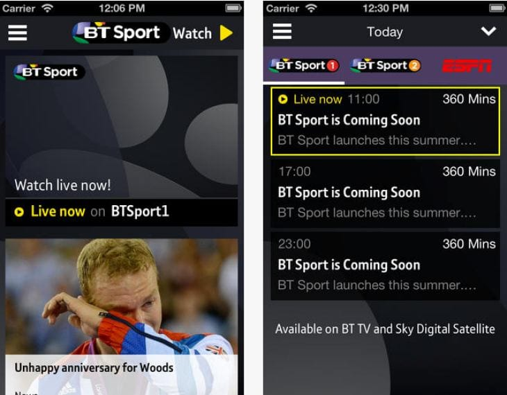 BT Sport app for new football season