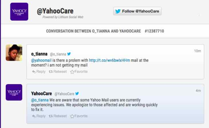 BT, Yahoo and Sky Mail problems today