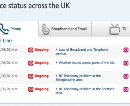 BT and Sky down status for some users today