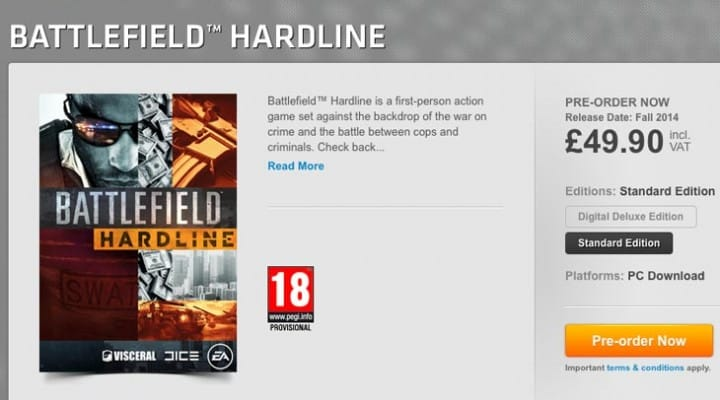 Battlefield Hardline PC pre-order with fall release date