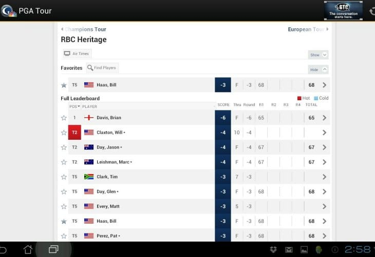Best apps for The Masters live scores 2014