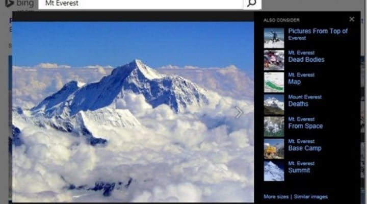 Bing Image Match plays catch-up with Google untrue