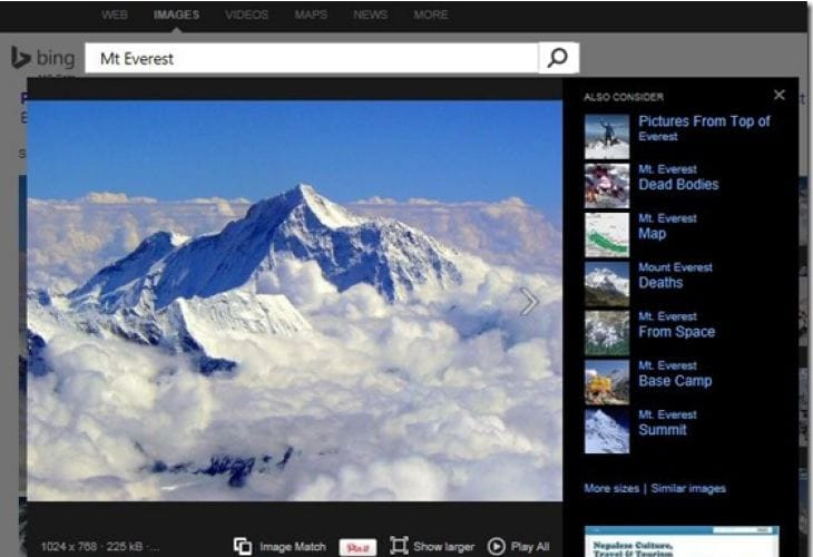 Bing Image Match plays catch-up with Google