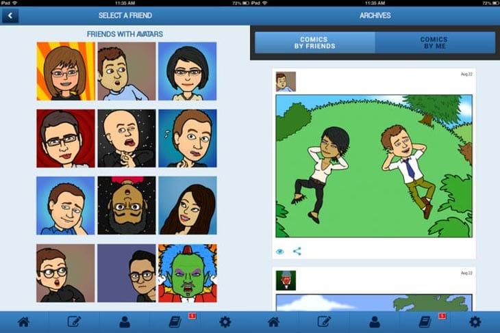 Bitstrips app for iPad screenshots