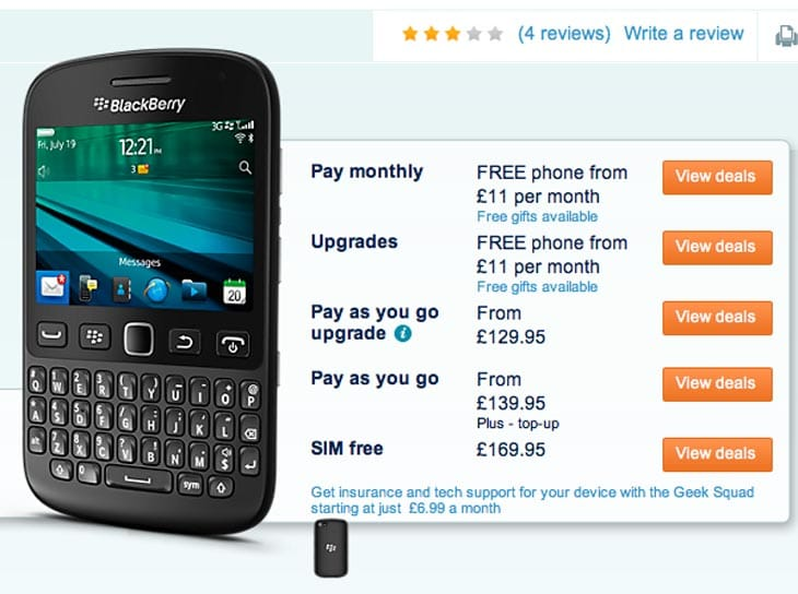 The BlackBerry 9720 lands in the UK at Carphone Warehouse