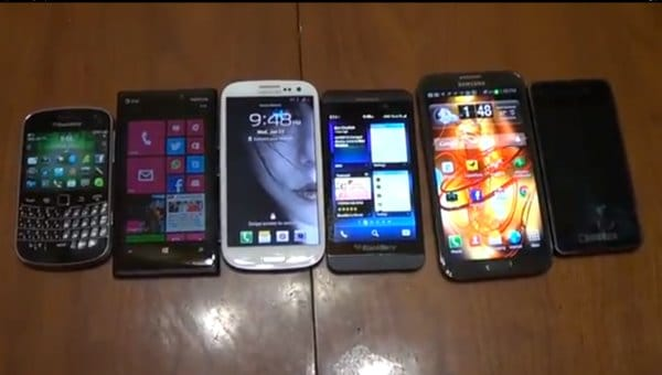 BlackBerry Z10 size vs. Galaxy Note 2, S3 and others