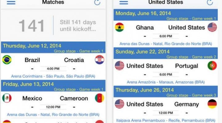 Brazil 2014 World Cup app updates statistics and rankings